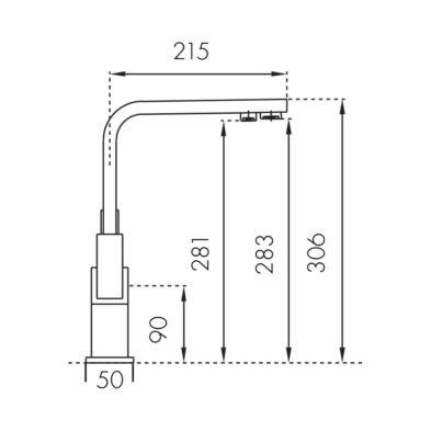 Taupo Chrom Ladna Bateria Z Podpieciem Filtrowanej Wody Dwuobwodowa Wymiary